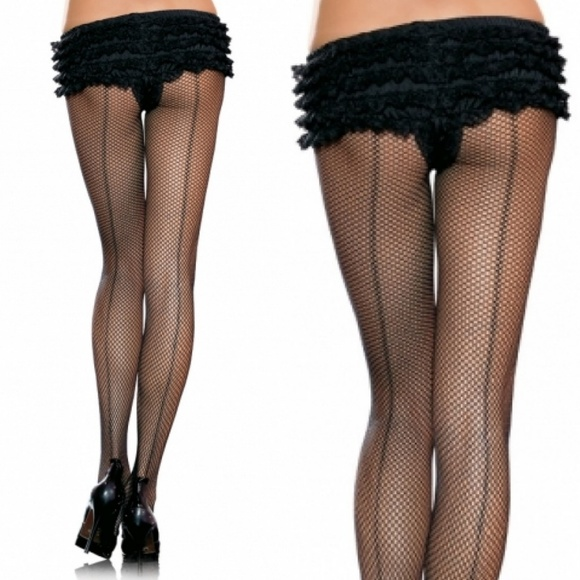 4de814984 Backseam Fishnet Pantyhose Stockings Burlesque
